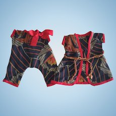 Antique Two Piece Romper and Jacket For Bisque or Composition Dolls