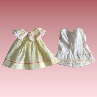 Yellow Organdy Shadowprint Doll Dress and Slip 1930s