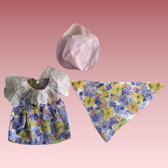 Purple Batiste and Organdy Doll Dress 1930s