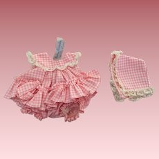 Madame Alexander Little Genius Pink Gingham Ruffled Sunsuit and Bonnet 1959
