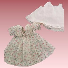 Rosebud Dimity Pleated Baby Doll Dress and Slip 1950