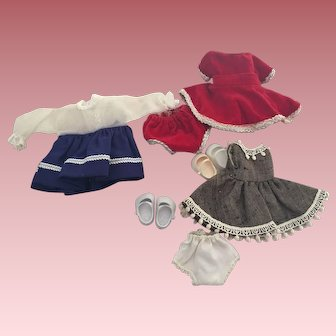 Three Outfits for 8 inch Dolls 1950s