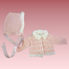 Tiny Tears Pink Sweater and Bonnet 1950
