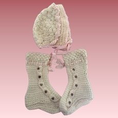 Antique Long Button Baby Booties and Bonnet 1910