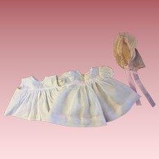 Madame Alexander Organdy Dress, Slip, and Bonnet 1950s
