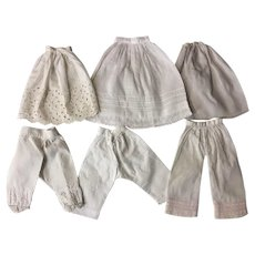 Three Antique Slips and Pantaloons for Small French or German Bisque Dolls