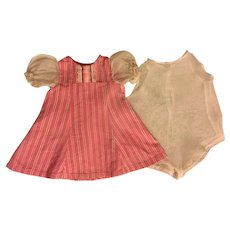 Vintage Pink and White Doll Dress and Chemise 1930s