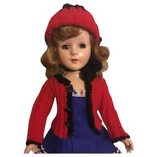 Dress, Sweater, and Hat for Hard Plastic Dolls 1950s