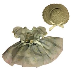 Ideal Shirley Temple Party Dress, Script Pin, and Straw Hat 1950s