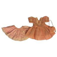 Pink Dress, Slip, and Purse Hard Plastic Dolls 1950s