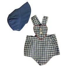 Sunsuit and Bonnet for Composition or Hard Plastic Dolls 1950s