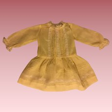 Pretty Yellow Batiste Dress for Large Composition Dolls 1930