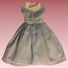 Blue Checked Fashion Doll Dress and Underwear 1950s