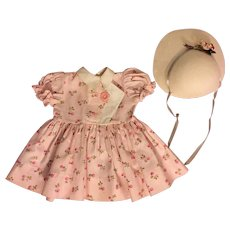 Pink Print Dress and Hat for Hard Plastic Dolls 1950s