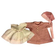 Organdy Doll Dress, Coat, and Bonnet for Tiny Tears and Friends 1950s