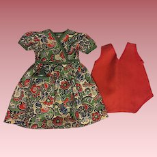 Cotton Print Dress and Chemise for Composition Dolls 1930
