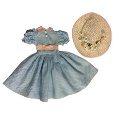 Blue and White Checked Fashion Doll Dress and Hat