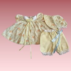 Sweet Yellow Print Batiste Outfit for American Character Tiny Tears and Friends