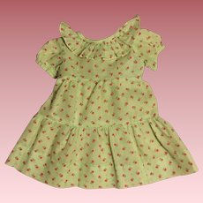 Green Print Dress for Large Composition Dolls 1930s