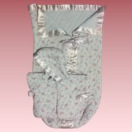 Sweet Quilted Bed Jacket and Bunting Bag for Baby Dolls 1950s