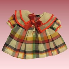 Plaid Pleated Dress for Composition Dolls 1930s
