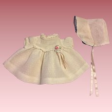 Dress and Bonnet for Baby Dolls such as Tiny Tears and Dy-Dee Baby 1950