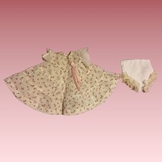 Dimity Dress with Rosebuds for Baby and Toddler Dolls 1950