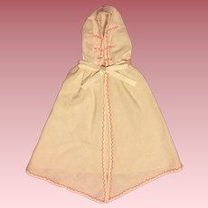 Flannel Embroidered Doll Baby Hooded Cape 1930