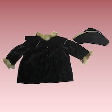 Vintage 1920s Velvet Coat and Matching Doll Hat