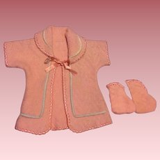 Vintage Pink Comfy Robe and Booties for Dy-Dee baby doll and Friends 1950s