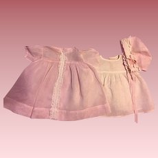 Vintage Three Piece Organdy Dress Outfit for Big Baby Dolls 1950