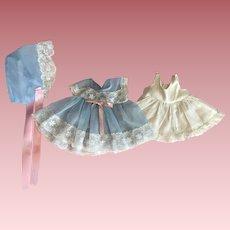 HTF American Character Tiny Tears Blue Nylon Dress Set 1950s