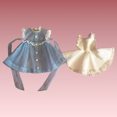 Blue Dotted Swiss Dress and Slip For Hard Plastic Dolls
