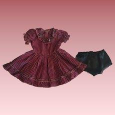 Taffeta Dress and Unders For Hard Plastic Dolls 1950
