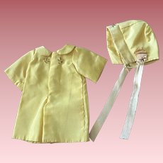 Yellow Taffeta Jumpsuit and Bonnet for Patsy Junior and Friends