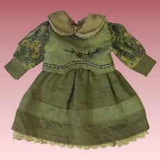 Two Piece Green Dress for Bisque Dolls