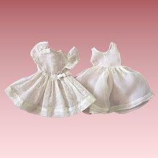 White Flocked Dress For Hard Plastic Dolls