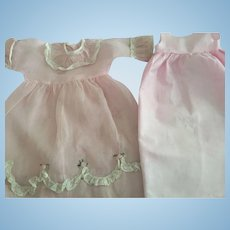 Pink Organdy Dress For Composition Dolls 1920s