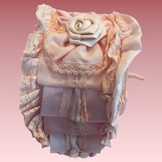Beautiful Pink Bonnet For Bisque Dolls