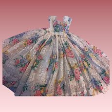 Lovely Plisse Floral Gown for Composition Dolls 1940s