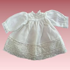 Lovely White Dress with Inset Lace For Bisque Dolls