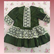 Lovely Green Dropped Waist Dress For Bisque and Composition Dolls