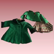 Two Piece Outfit and Coat Composition Dolls 1940s