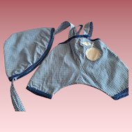 Blue and White Romper and Bonnet for Kewpie and Friends 1930s