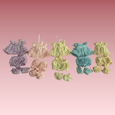 Set of Five Vintage Crocheted Dionne Quintuplets Outfits