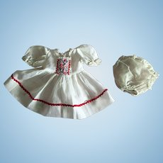 Red and White Dress and Vinyl Diaper For Dy-Dee and Tiny Tears 1950