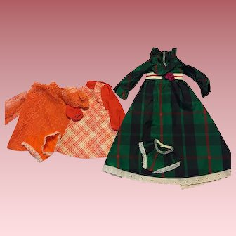 Vintage 1970's Original Ideal Crissy Doll Clothes Three Dresses and Underwear
