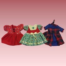 Three Doll Dresses for 14-inch dolls 1950s