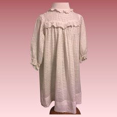 White Windowpane Cotton Toddler Dress Early 1900s