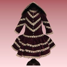 Velvet Dress and Bonnet for Bisque Dolls